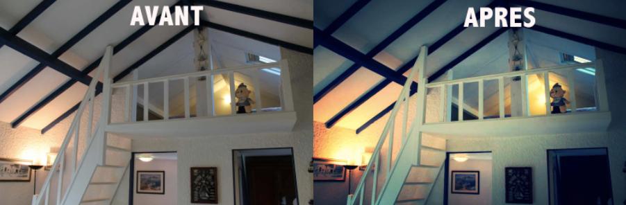 Exemple avant/après avec le filtre nuit