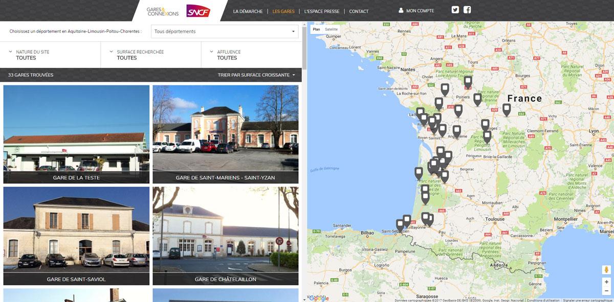 carte des tiers lieux mis en place par la SNCF pour redynamiser des zones