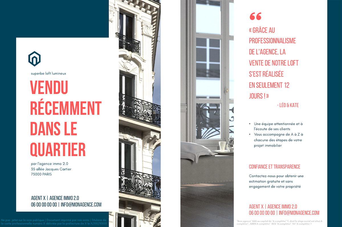 flyer immobilier vendu design