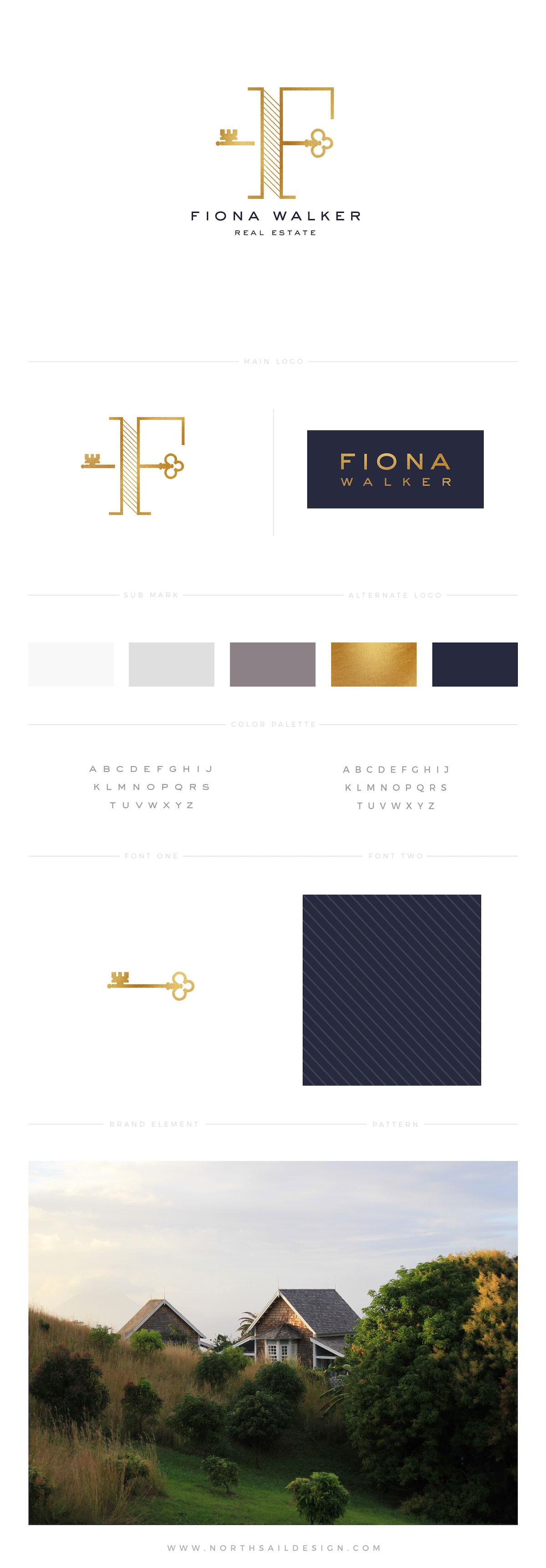 Fiona-Walker-Real-Estate-Brand-Board-Realtor-Logo-Custom-Logo-Real-Estate-Logo-Modern-Gold-Foil-1