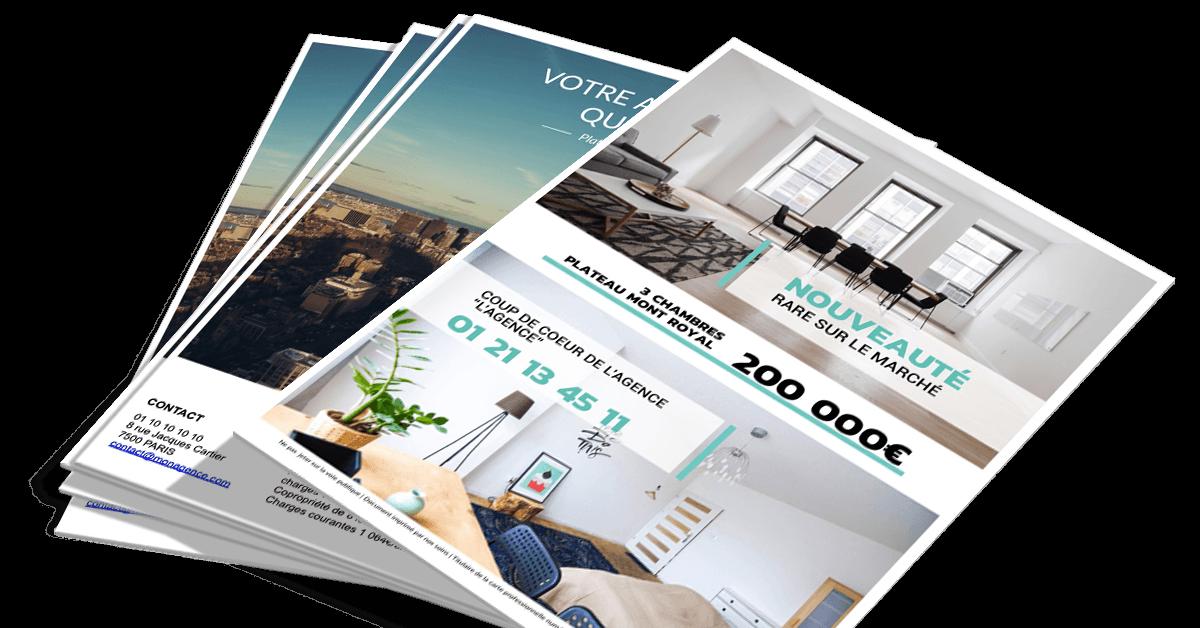 Design flyers pour agence immobilière nouveau communication portrait nemo