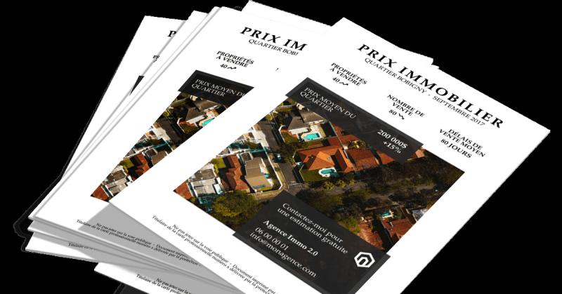 Flyer immobilier prix marche communication portrait auguste louis