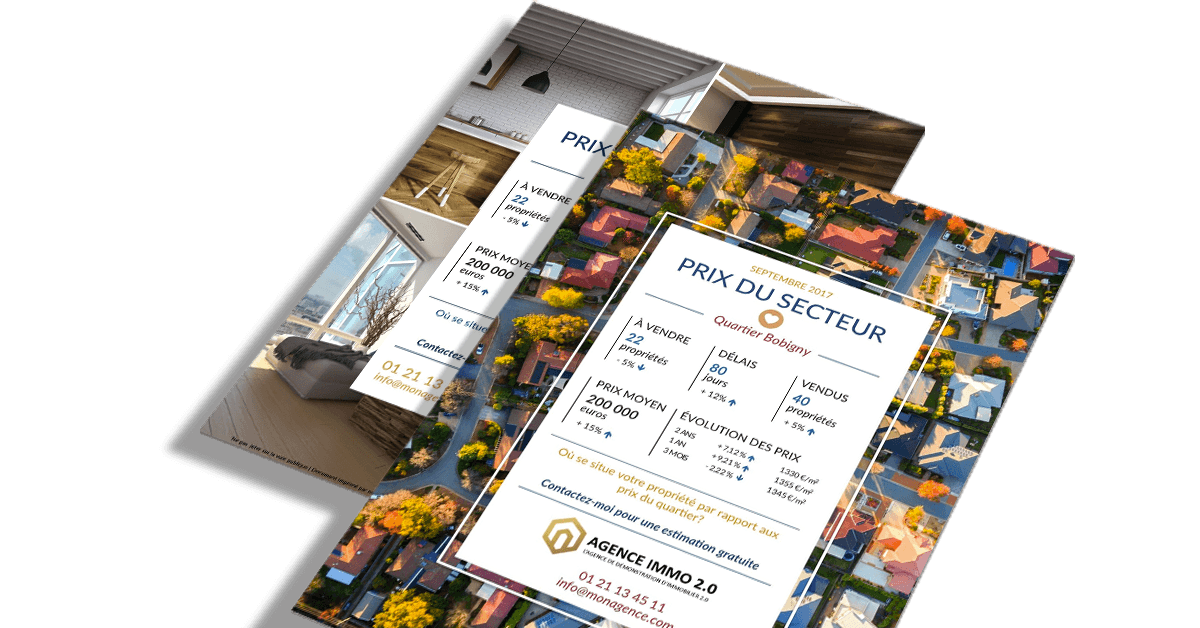 Flyer immobilier prix marche portrait communication social network
