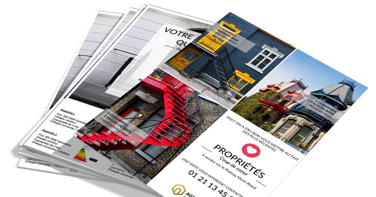 flyer immobilier nouveaux biens multiples social network