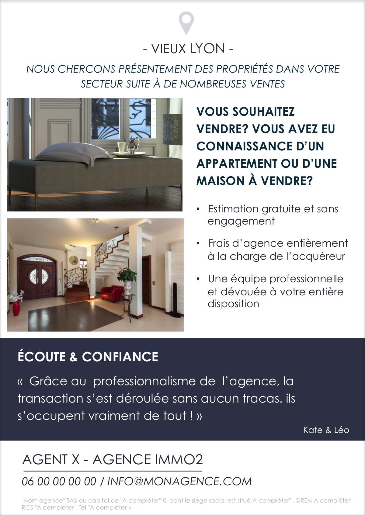 design flyer immobilier pour communiquer sur la recherche. Black Bedroom Furniture Sets. Home Design Ideas