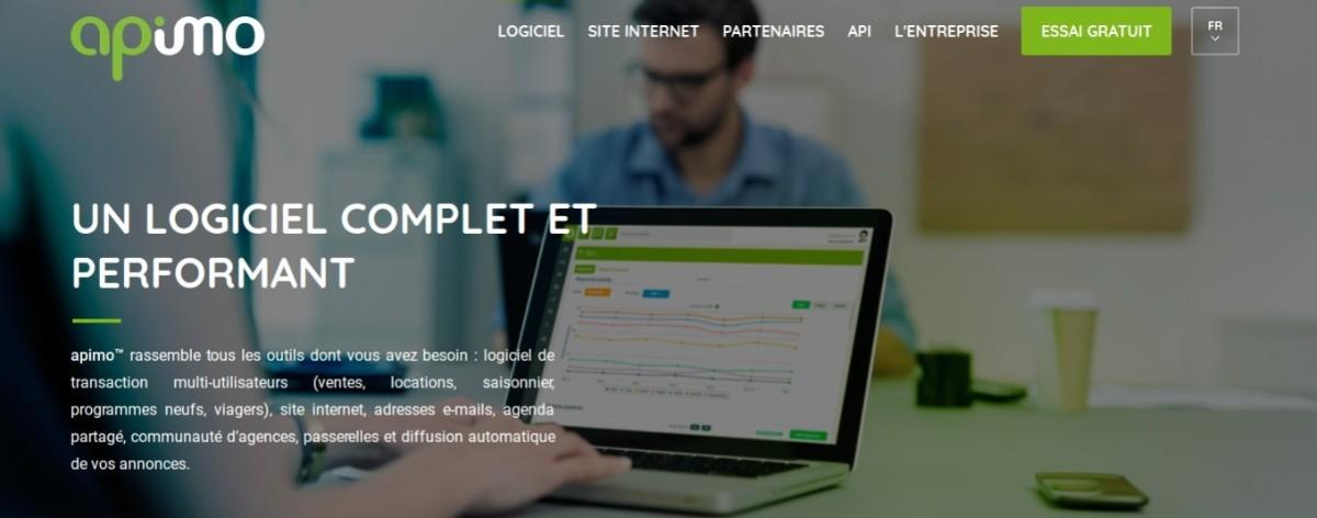 Apimo logiciel de transaction immobilier : page de présentation sur le site internet