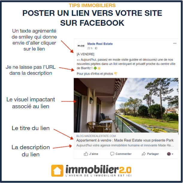 Facebook Poster Lien Site Immobilier
