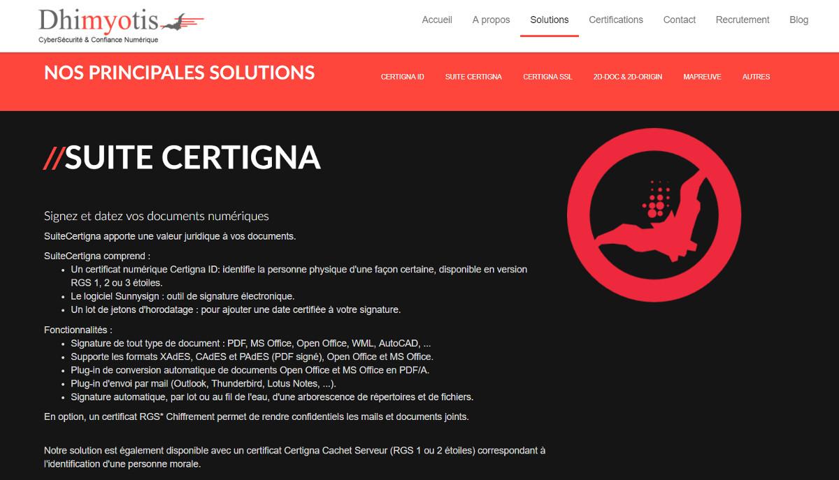 Suitecertigna Signature Electronique Dhimyotis Agence Immobileir Annuaire