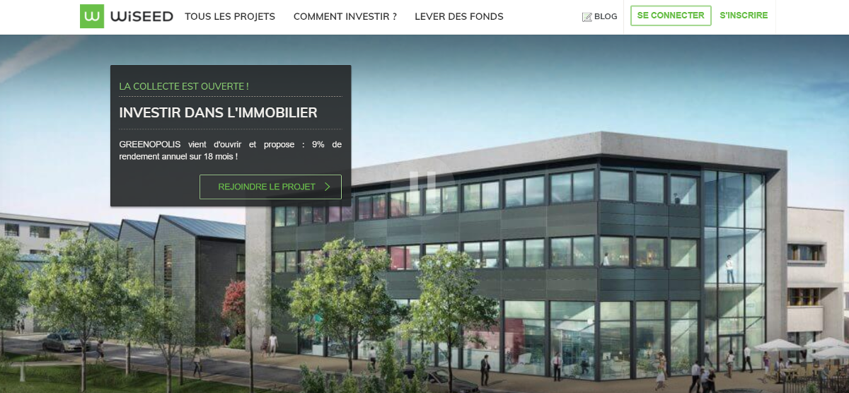 Wiseed Crowdfunding Immobilier Homepage