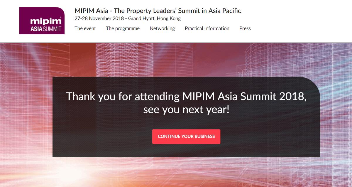 Mipim Asia Salon Immobilier 27 28 Novembre 2019 Hong Kong Grand Hyatt
