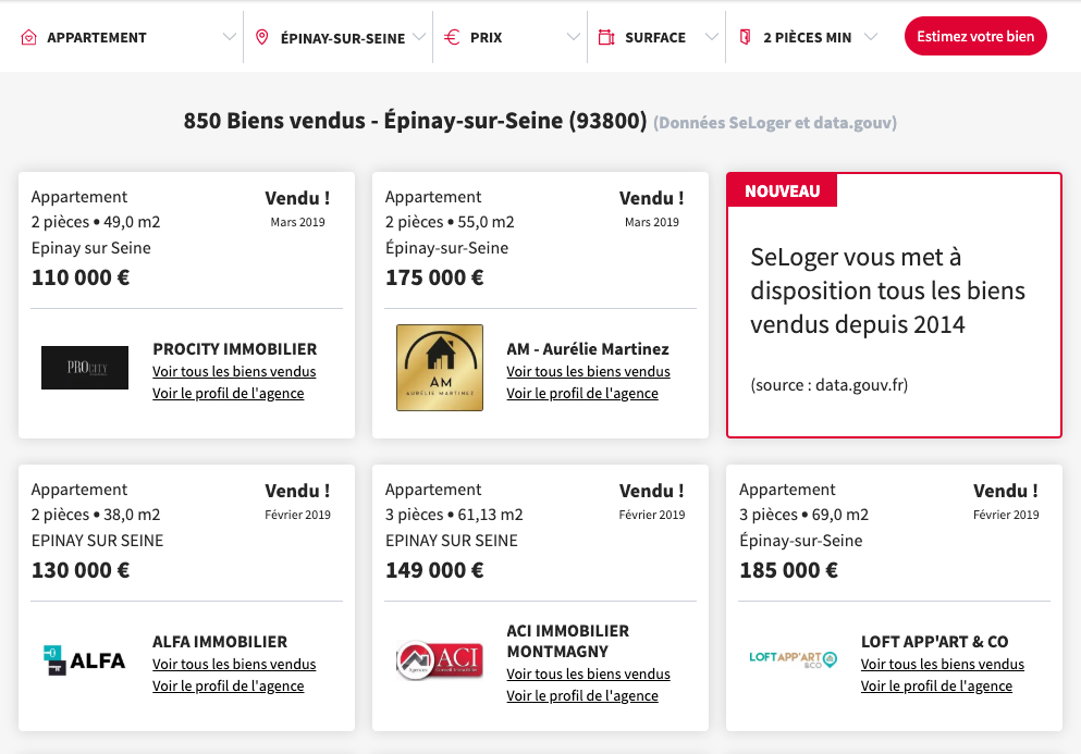 Seloger Dvf Prix Transactions Immobilières Opendata
